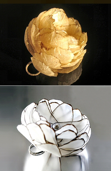 auto-destruction  Inni Pärnänen (Finnish)- botanical jewellery with a geometric bent - flower ring in burnt paper & wax