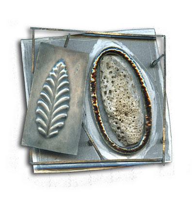 Ramon Puig Cuyas - broche 'bilustris n° 1114' 2006 - silver, plastic, nickel, acrylic painting