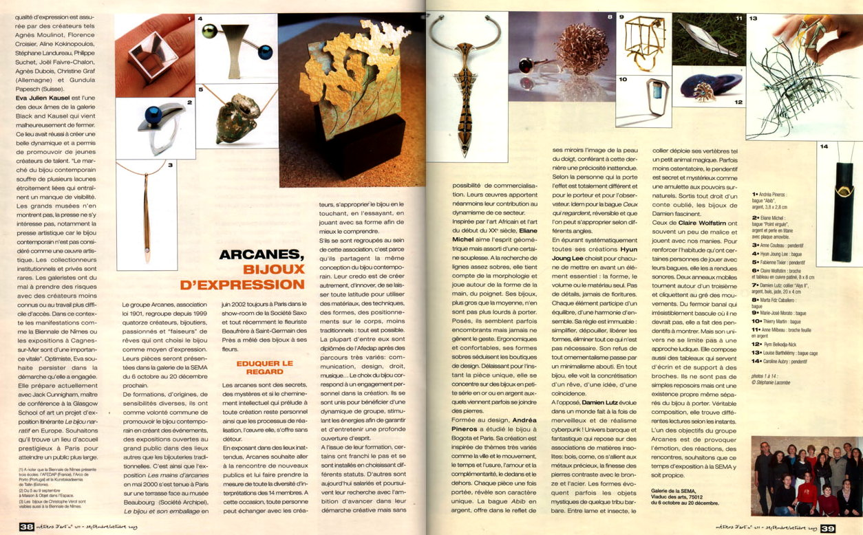 Groupe Arcanes - presse Metiers d'Art Sema 09-2003
