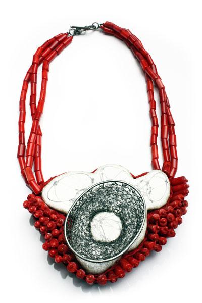 Isabell SCHAUPP- Necklace 'Freudenvoge' 2009 - silver, enamel, photo, coral textile.jpg