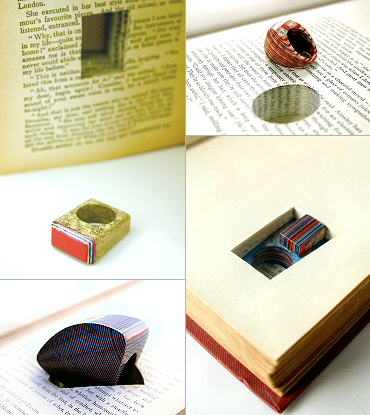 rings- Littlefly, by London artist Jeremy May, is a collection of 'literary jewels' made by cutting pages out of a book and laminating the sheets together