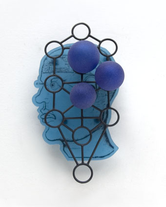 Ruudt Peters - brooch Sefiroth - Kokab, 2007 silver, glass, polyester