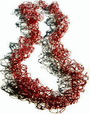 solidor-Mari Ishikawa-Necklace-Blooming Red-2004- japanese kozo paper