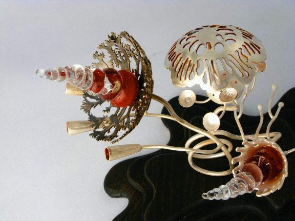 Tosca Teran - 2009- an Un-Natural History - 'Epigeous Conidiophorus' - silver, enamel, silicone, borosilicate
