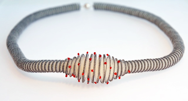 Anke Hennig necklace - ecru, grey, stitched with red glass beads, cotton, rayon, Monofil, silver