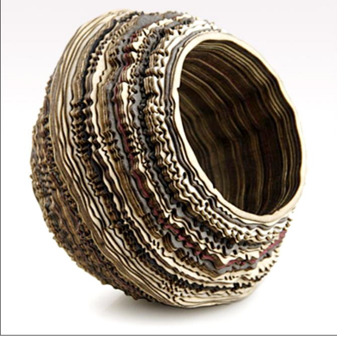 Anthony Roussel - geo colour bangle - birch, birds eye maple & ash wood