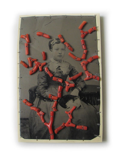 Bettina Speckner-brooch 2007- Ferrotype, Silver, Coral, Maple