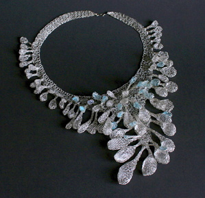 Blanka Sperkova (Czech) Silver, blue glass chips, Necklace 2008 -knitted wire