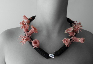 Katerina handlova-Glass-rocailles, lamp-worked beads - 'coral' necklace 2007