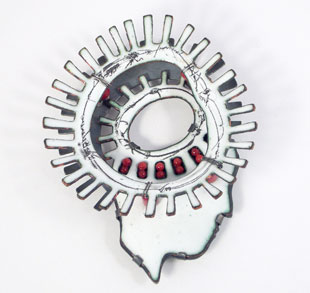 Isabell SCHAUPP-brooch 'Kopfrad II'-silver copper, enamel, photo, coral