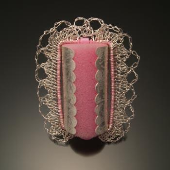 Jill Baker Gower -'Pink Roller brooch