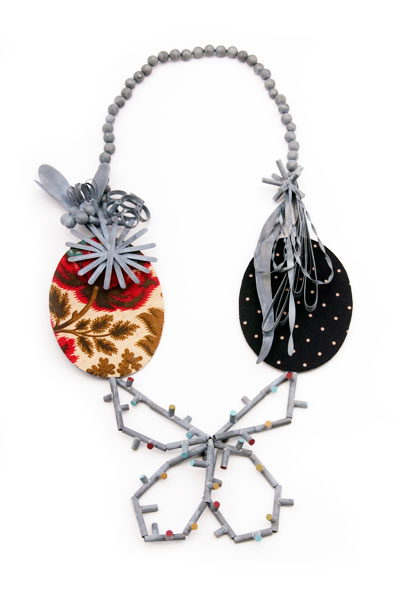 LUCY SARNEEL - necklace 'la double vie' 2009 - zinc, textile on rubber,