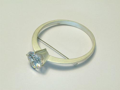 Marc MONZO - brooch 'Big Solitaire' silver, circonia, steel. 2005-2006.jpg
