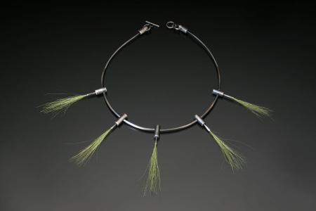ObjectFETISH- my cart- Sarah Hood-  Grass Necklace sterling silver and model railroad 'field grass' 1200$