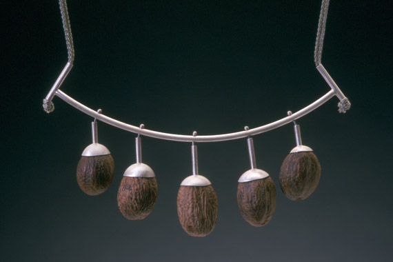 Sarah HOOD - nutmeg necklace- silver, whole nutmegs, cord- 2000