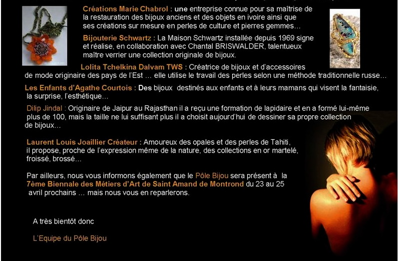 Pole Bijou - lettre d'info Mars 2010 - 2