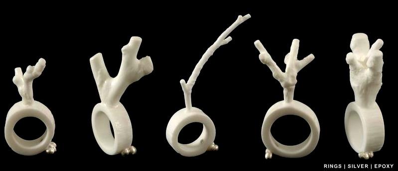 Susanne KLEMM - rings 'mutation' -silver, epoxy
