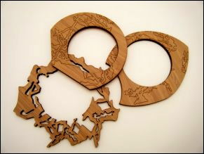 Amy KLAINEr -laser cut and engraved bamboo bracelets