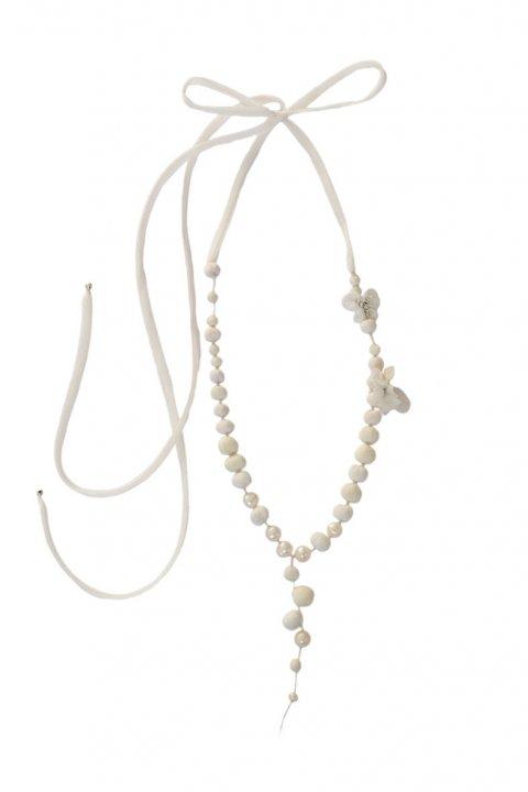 EXPO cecile Boccara-collier perles de soie- mousseline de soie