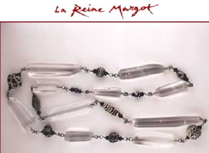 Gal La Reine Margot - collier Jacques An Lanh - perles en cristal de roche, perles en verre-mosaïque, Perse,IVs av JC