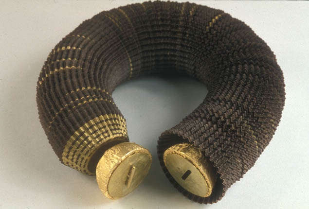Paques- Anika...-Love Token (choker) - 2002 - Ferrero Rocher chocolate wrappers, wood, brass.jpg