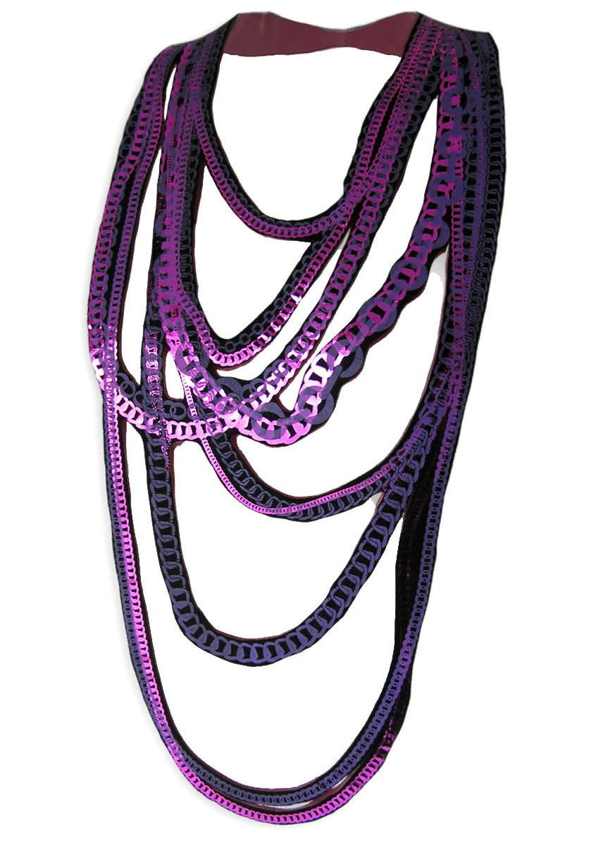 ULI RAPP_chains_purple - Screenprinted textile necklace with a rubber backing depicting multiple chains