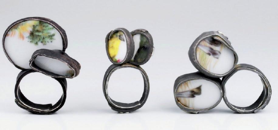 Luzia Vogt - bagues 'Flüchtige Momente' - porcelaine, argent