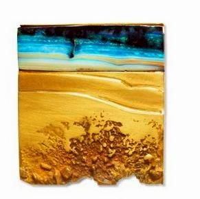 Thierry vendome - 'marée basse' broche or jaune noirci, opale d'Australie