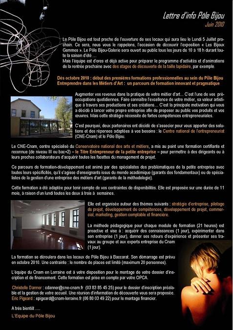 pole bijou - lettre info juin 2010