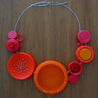 Shana Astrachan - recycled jewelry - bottle caps neckpiece